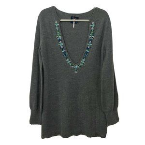 Free People Embroidered Tunic Sweater XS